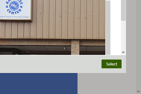 Cropped screenshot of green Select button in image selection tool