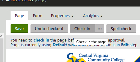 Cropped screenshot of Check in button on editing screen