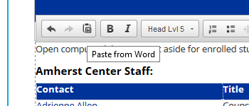 Cropped screenshot of Paste from Word icon on ribbon bar