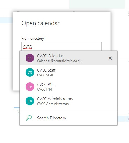 Screenshot of Open calendar search/selection box