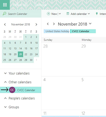 Screenshot of CVCC Calendar in the list highlighted