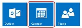 Image 1 - Screenshot of Outlook email, calendar and people icons with Calendar selected