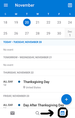 Screenshot of Outlook mobile calendar