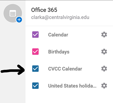 Screenshot of calendar added to user's list