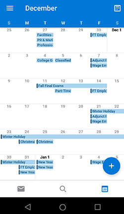 Screenshot of CVCC Calendar in Outlook mobile